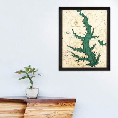 Lake Conroe poster, Lake Conroe 3d wood map