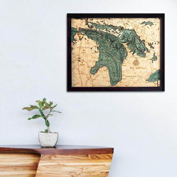 Lake Huron 3d wood map, Lake Huron poster