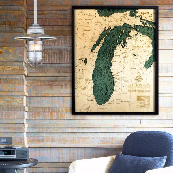 Lake Michigan nautical decor, poster, 3d wood map