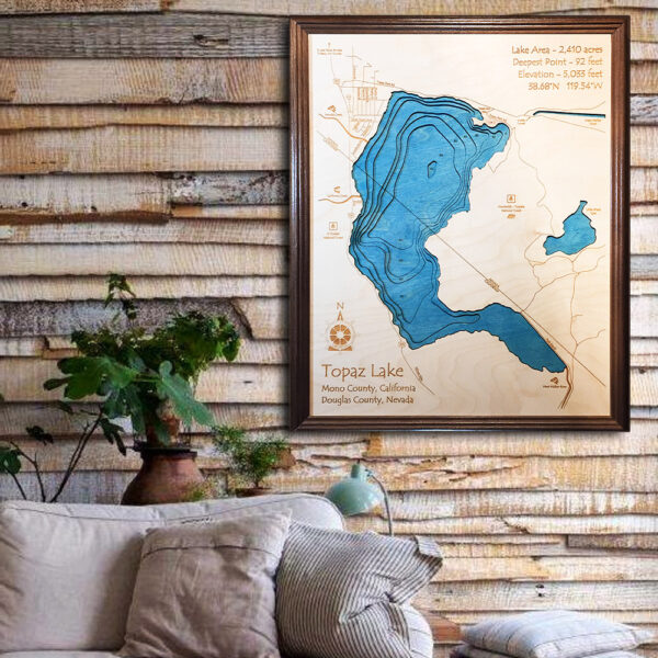 Topaz Lake 3d wooden map