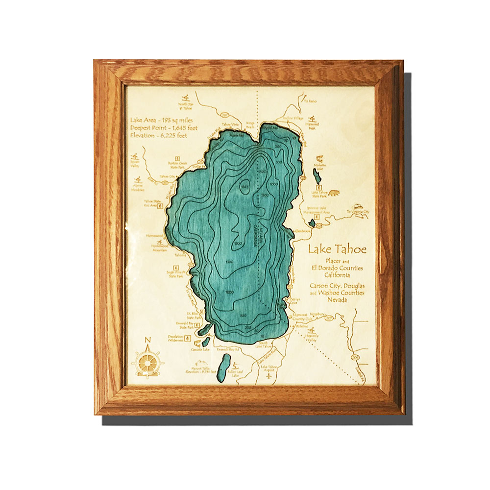 Lake Tahoe Wall Decor Framed Wooden Map 8 X 10