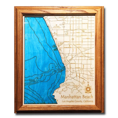 Manhattan Beach California laser-etched wood map, laser-printed poster wall art