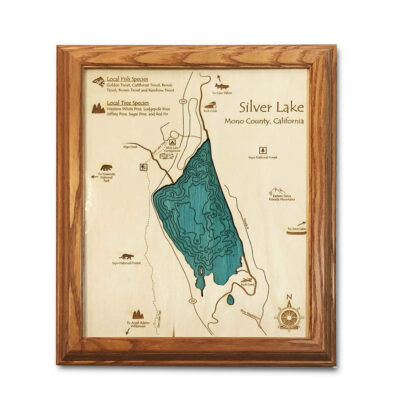Silver Lake California laser-etched wood map, laser-printed poster wall art