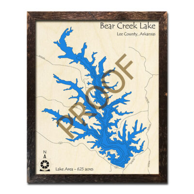 Bear Creek Lake AR 3d wood map