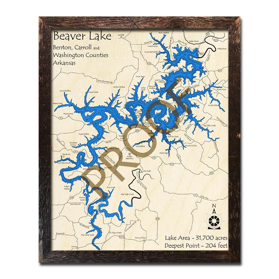 beaver lake ar map Beaver Lake Ar 3d Wood Map Laser Etched Nautical Decor beaver lake ar map