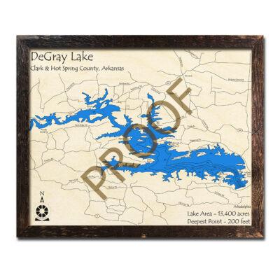 DeGray Lake 3d wood map laser printed poster wall art
