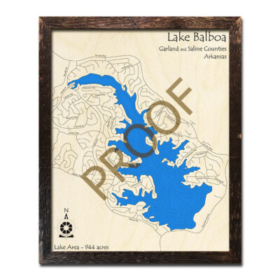 Lake Balboa 3d wooden map laser etched poster wall art