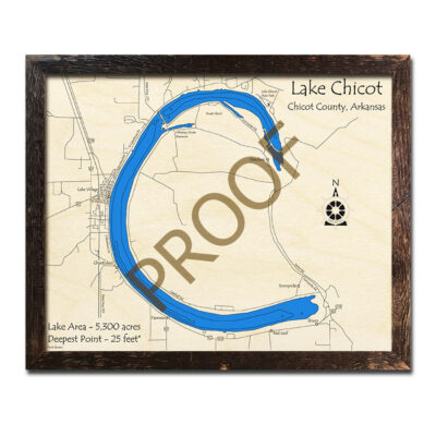 Chicot Lake 3d wood map laser printed poster wall art