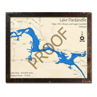 Lake Dardanelle 3d wood map laser printed poster framed wall art