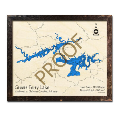 Greers Ferry Lake 3d wood map laser printed poster wall art decor