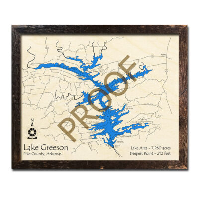 Lake Greeson 3d wood map laser printed poster