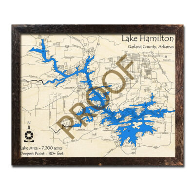 Lake Hamilton 3d wood map laser etched printed poster wall art