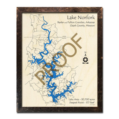 Lake Norfork 3d wood map laser printed poster arkansas