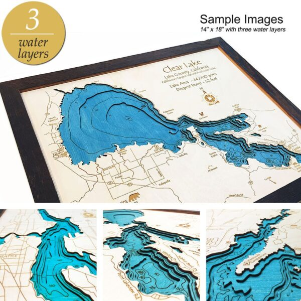 Custom 3D Nautical Map with 8 Water Levels Bathymetric
