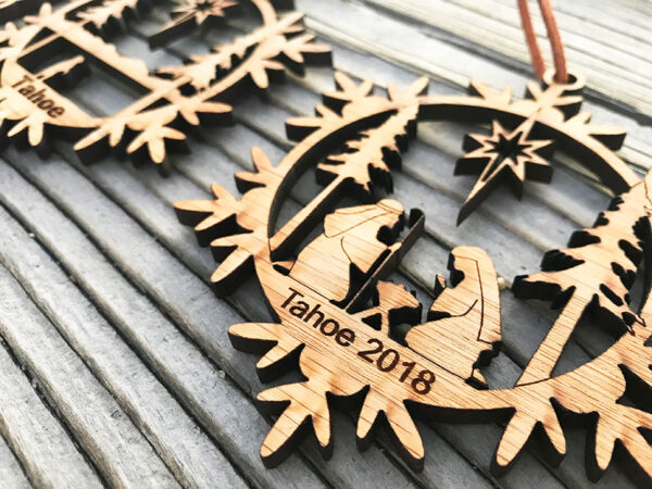 lake tahoe christmas ornament, snowflake ornament
