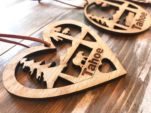 lake tahoe ornament, christmas ornament, tahoe heart ornament