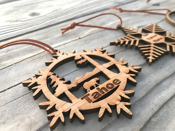 Lake Tahoe ornament, wood, laser-cut bear ornament