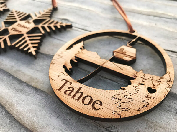 Lake Tahoe ornament, wood, laser-cut gondola ornament