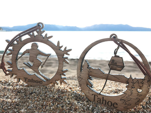 Lake Tahoe ornament, wood, laser-cut heavenly mountain ornament