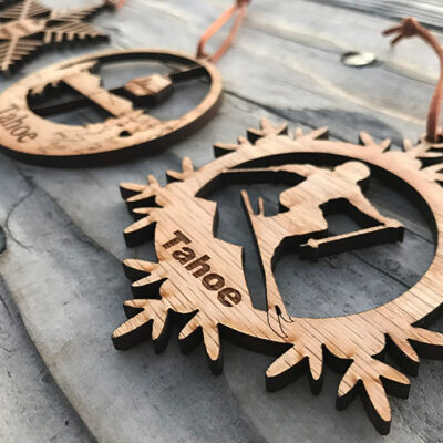 Lake Tahoe ornament, wood, laser-cut skiing ornament