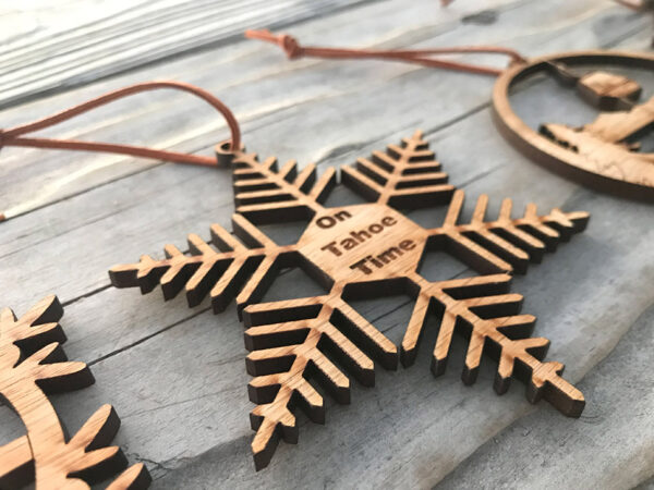 Lake Tahoe ornament, wood, laser-cut on tahoe time ornament