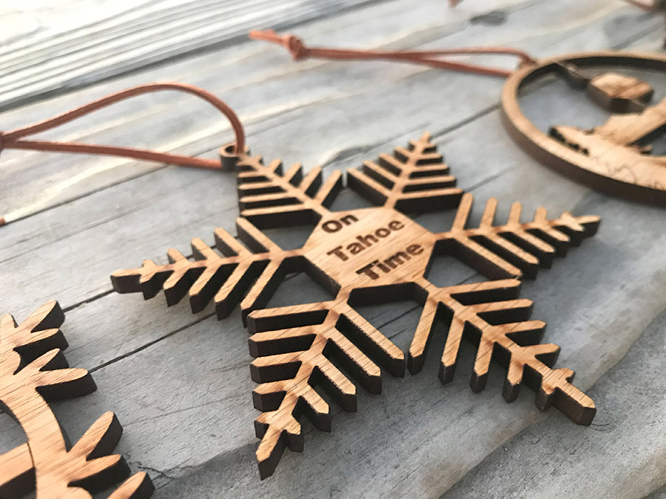 Lake Tahoe Ornaments Set Of 4 Lake Tahoe Laser Cut Wood Holiday Decor Ski Snowflake Ornaments On Tahoe Time