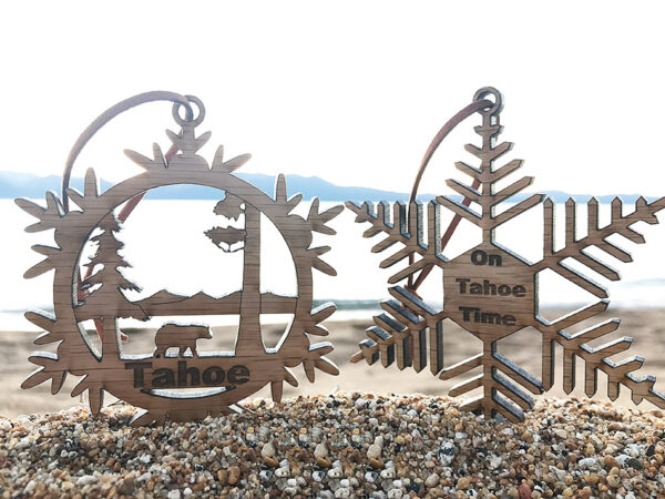 Lake Tahoe ornament, wood, laser-cut christmas ornament