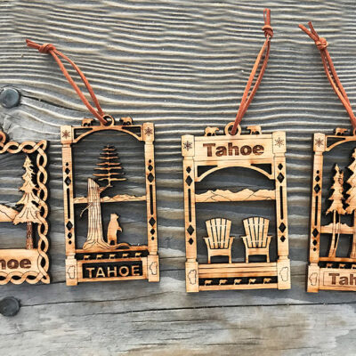 Lake Tahoe ornaments, Christmas tree ornament wood