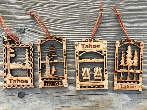 Lake Tahoe ornaments, Christmas tree ornament wood