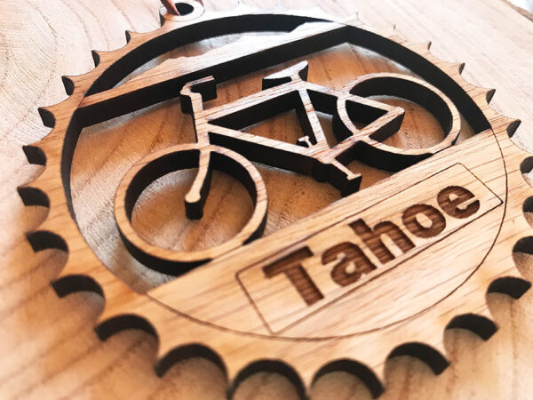 lake tahoe ornament, christmas ornament, holiday decor, cycling ornament