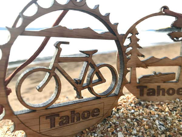 lake tahoe ornament, christmas ornament, holiday decor, bike ornament