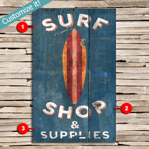 Personalized Surfing Sign, Vintage Surf Shop Sign, Gift for Surfers, Surfing Art