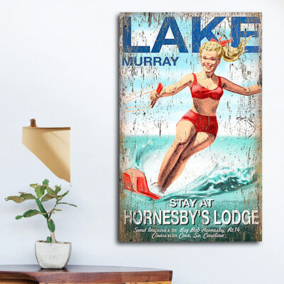Water Skiing SIgn, personalized cabin decor, rustic sign