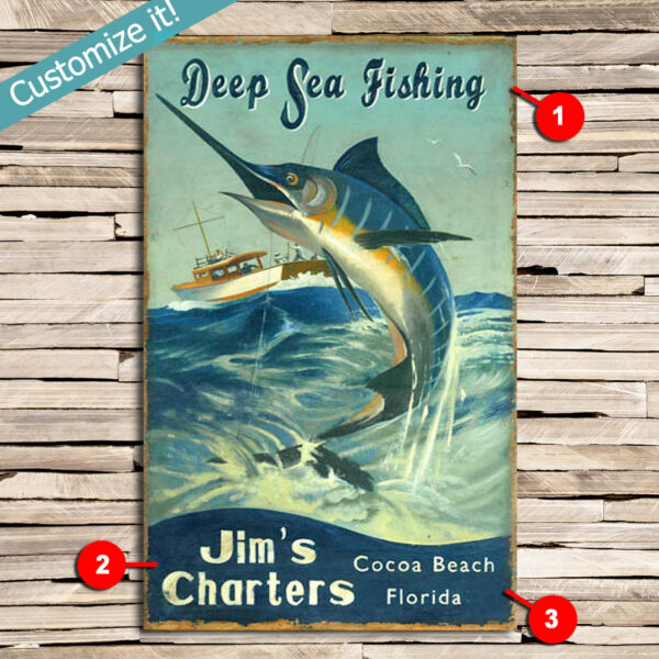 Deep Sea Fishing Personalized Sign, Gift for Fisherman, Fishing Gifts, Nautical Decor, Cabin Decor