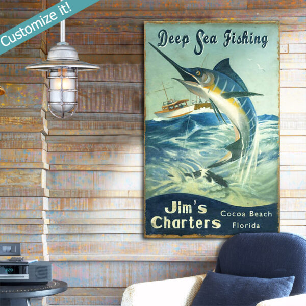 Fishing Sign, Personalized Fishing Wall Art, Vintage Deep Sea Fishing Sign