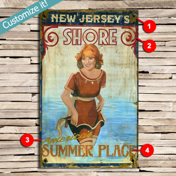 Personalized Jersey Shore Sign, Vintage Beach Sign, Custom Beach Decor