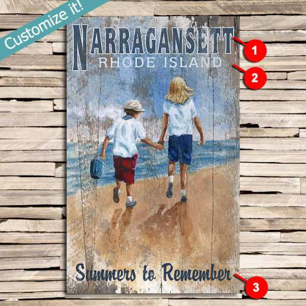 Narragansett Beach Sign, Beach Decor