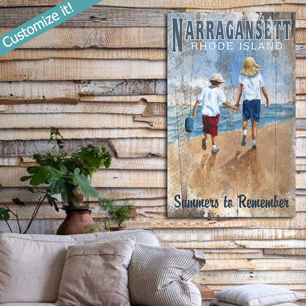 Personalized Beachcombing Vintage Sign Beach House Decor
