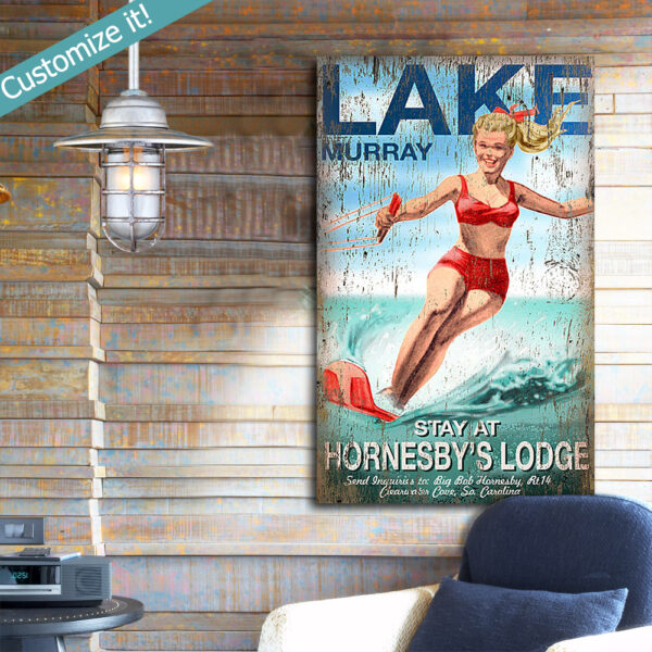 Vintage Wood Sign, Water Skiing Sign, Nautical Wall ARt