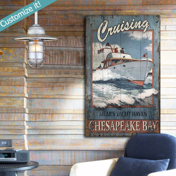Chesapeake Bay Vintage sign, Personalized Yacht Sign, Custom