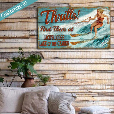 Custom Beach House Decor, Vintage Retro Water Skiing Sign