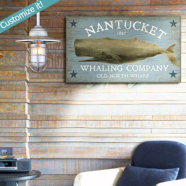 Vintage Nantucket Sign, Whale Watching, Beach House decor