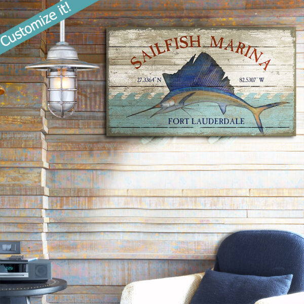 Custom Nautical Decor, Fort Lauderdale Vintage Sign, Sailfish, Marina, Beach Decor