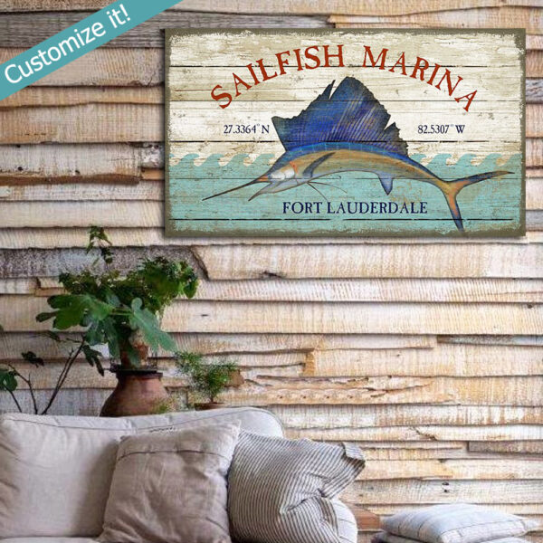 Sailfish Marina Vintage Sign, Nautical Wall Art