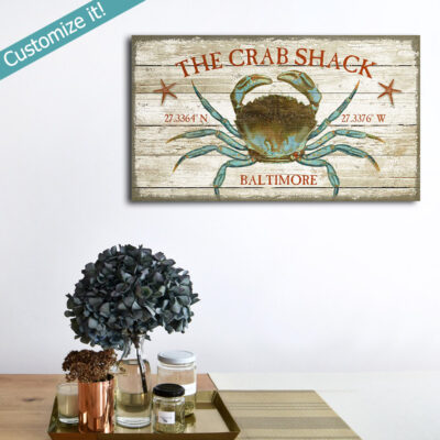 Crab Shack Vintage Sign, Crab Decor, Chesapeake Bay Maryland