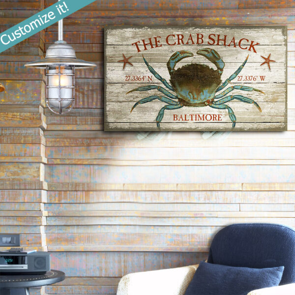 Chesapeake Bay Crab Shack Sign, Vintage Wall Art, Maryland, Nautical Decor