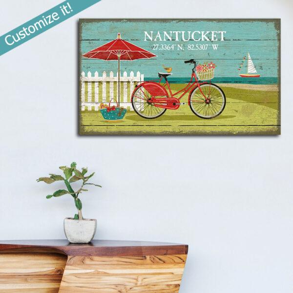 Beach cruiser vintage sign, Nantucket Sign