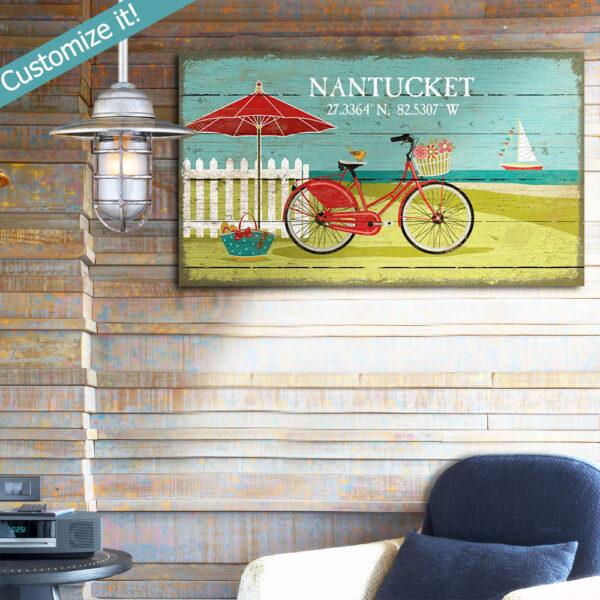 Nantucket Sign, Beachcruiser, bicycle sign, umbrella