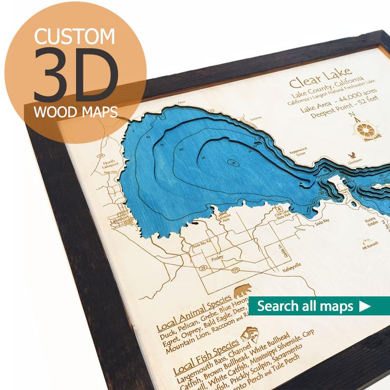 Nautical Wood Maps, 3D Wood Maps, Ski Trail Maps, Home Decor