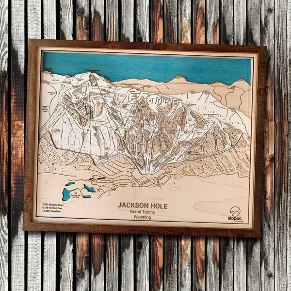 Jackson Hole Rustic Trail Map, Ski Decor, Gifts for Skiers, Wyoming